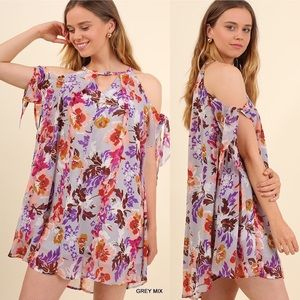 Floral Tie Sleeves Dress